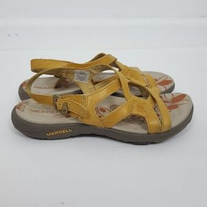 Merrell  Agave Yellow Leather Slingback  Sandals 6